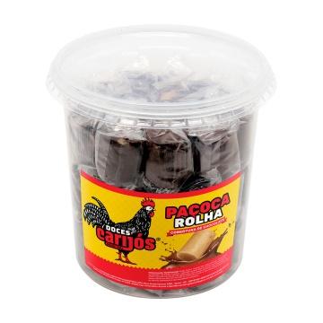 Paçoca rolha com cobertura de chocolate pote Carijós c/46 und - 900g